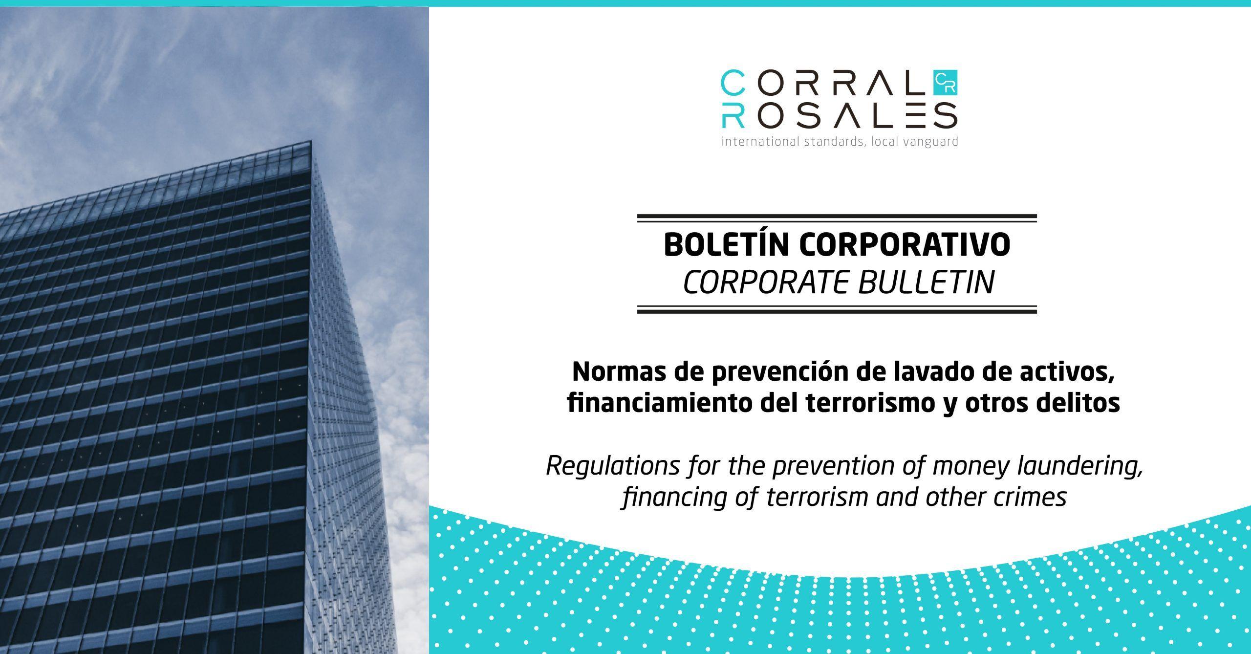 Normas de prevención de lavado de activos, financiamiento del terrorismo y otros delitos - CorralRosales - Abogados Ecuador