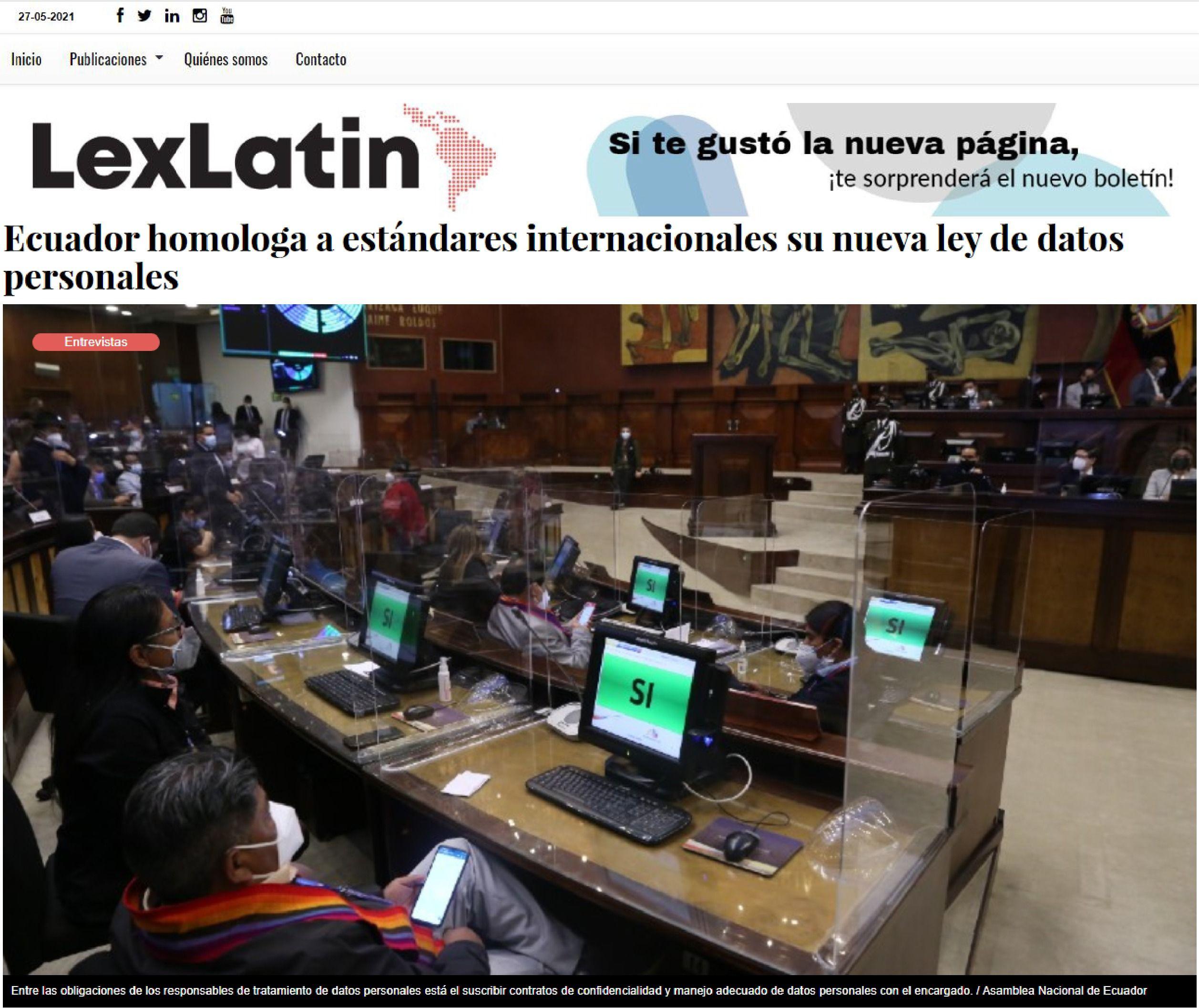 LexLatin - Ecuador homologa a estándares internacionales su nueva ley de datos personales - Abogados Ecuador - CorralRosales