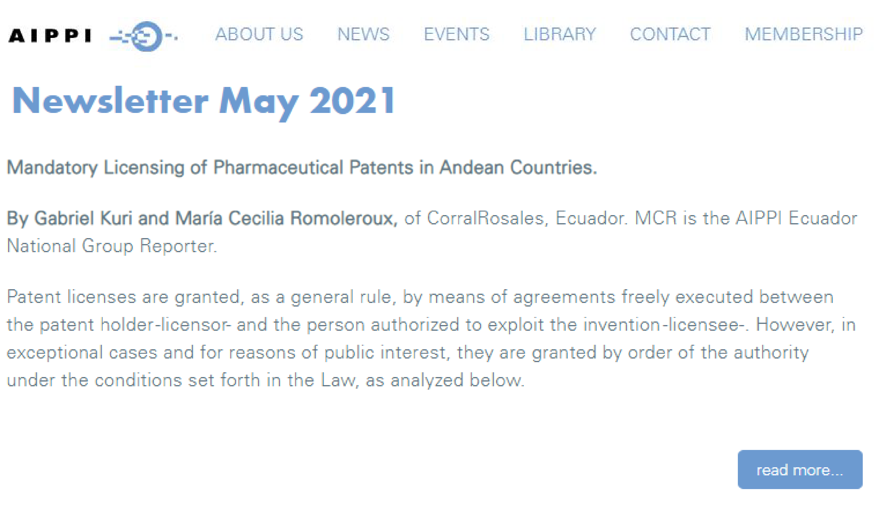 AIPPI - Mandatory licensing of pharmaceutical patents in Andean countries - CorralRosales - Lawyers Ecuador