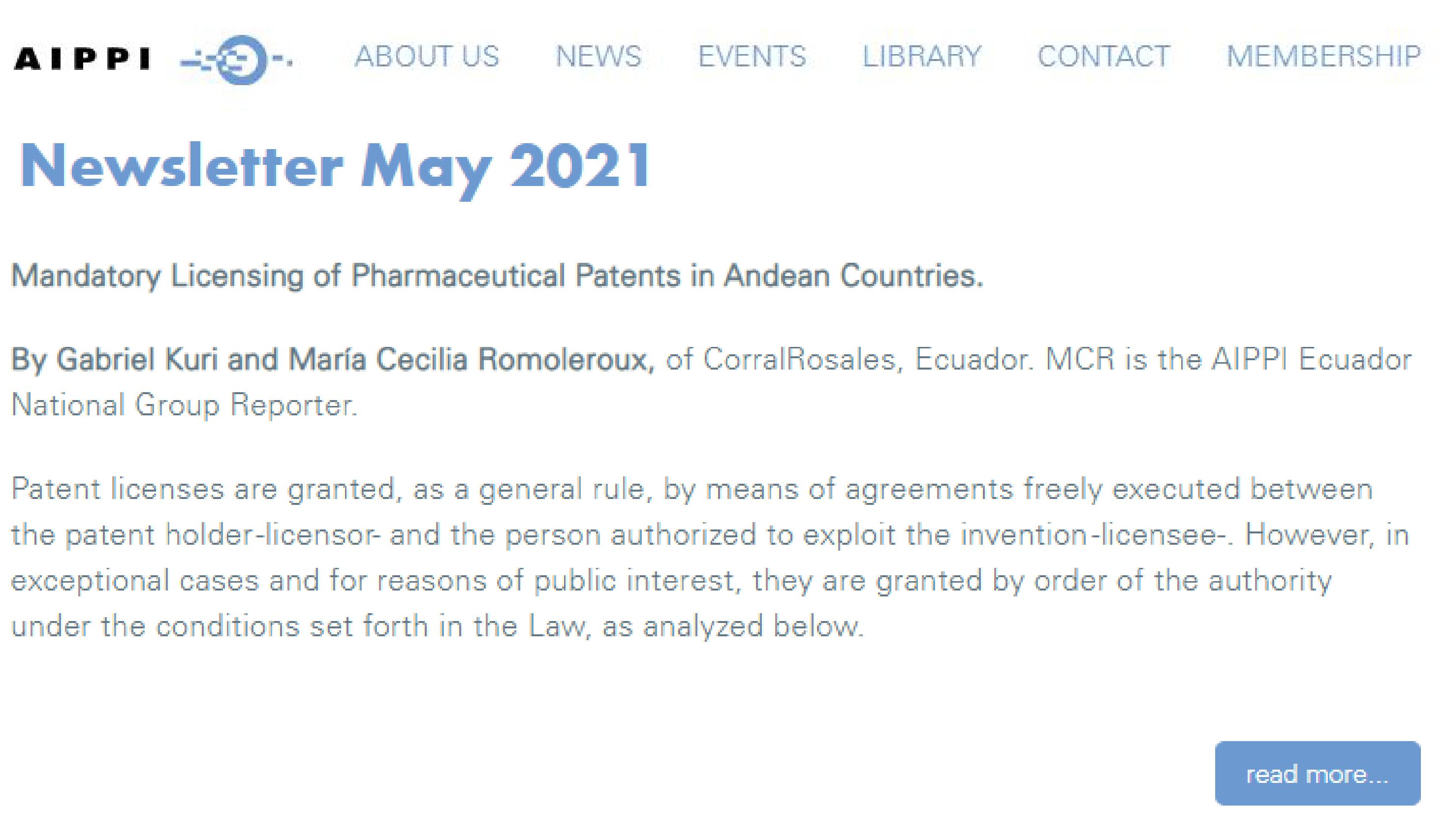 AIPPI - Licencias obligatorias de patentes farmacéuticas en los países andinos - CorralRosales - Abogados Ecuador